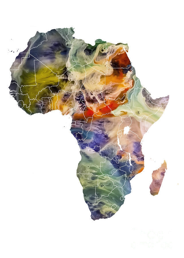 Africa Digital Art - Africa map original map by Justyna Jaszke JBJart