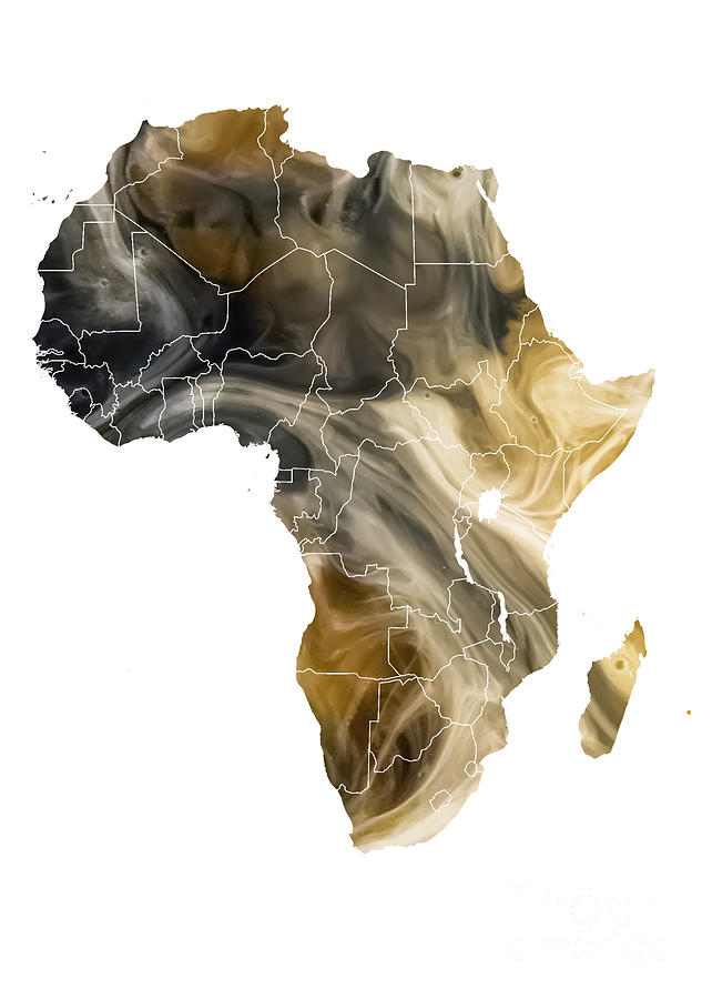 Africa Digital Art - Africa Map pollution by Justyna Jaszke JBJart