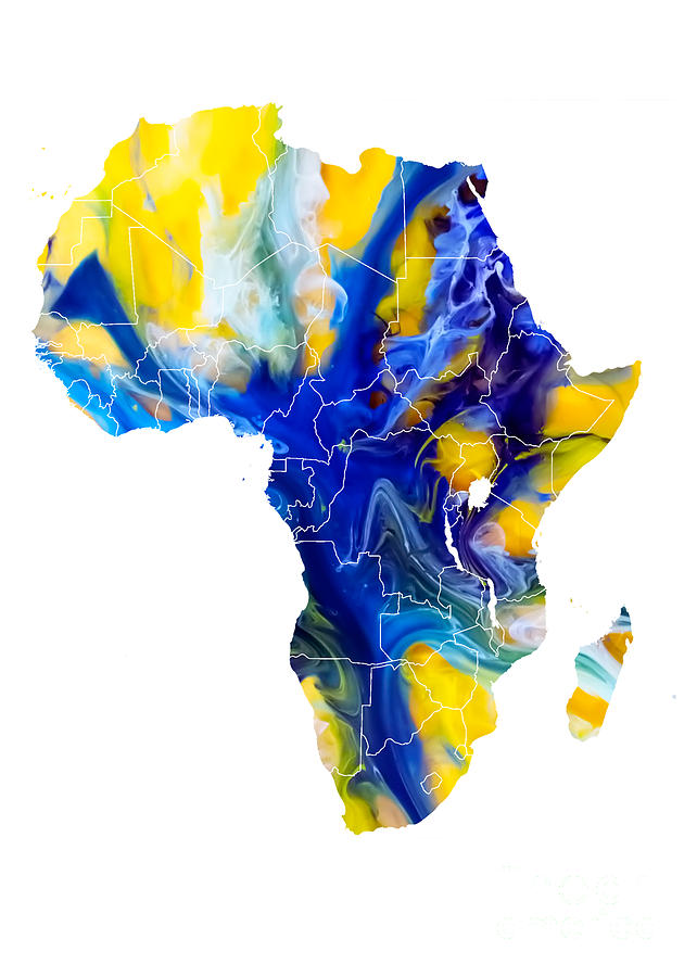 Africa Digital Art - Africa map water by Justyna Jaszke JBJart