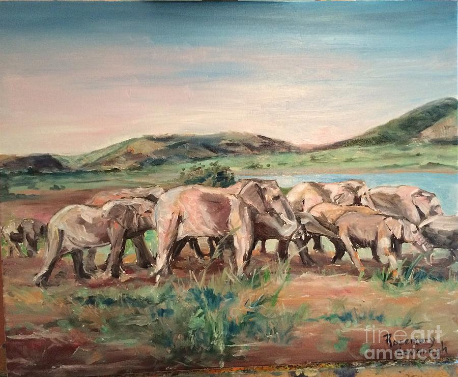 Elephants Painting - Africa by Rosemary Kavanagh