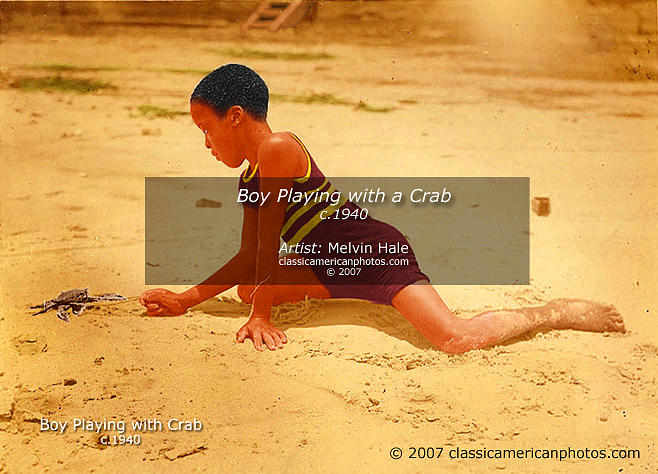 Children Painting - African American Art Entitled Boy Playing With A Crab Circa 1940 by Melvin Hale