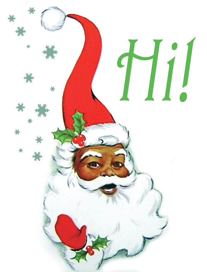 African American Painting - African American Santa Claus Greetings by Long Shot