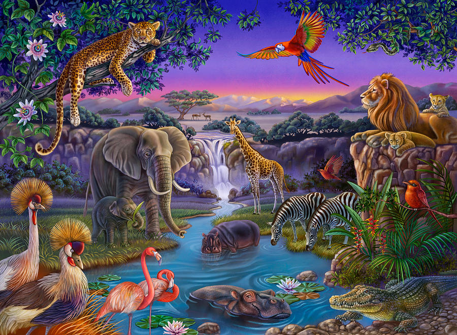 African animals at the water hole painting by anne wertheim for African mural painting