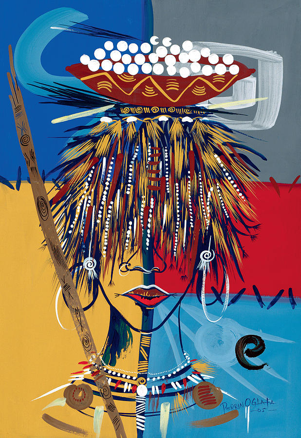 African Painting - African Beauty 2 by Oglafa Ebitari Perrin