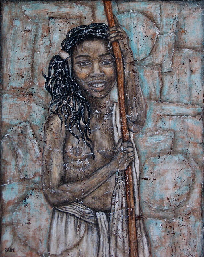 Painting Painting - African Beauty I by Rain Ririn