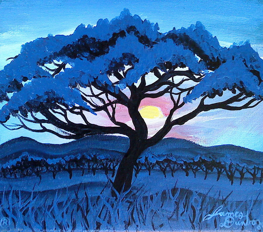 African Blue Mist Painting by Portland Art Creations