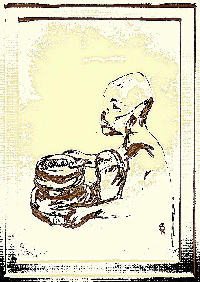 Human Drawing - African Boy Brown by Sheri Buchheit