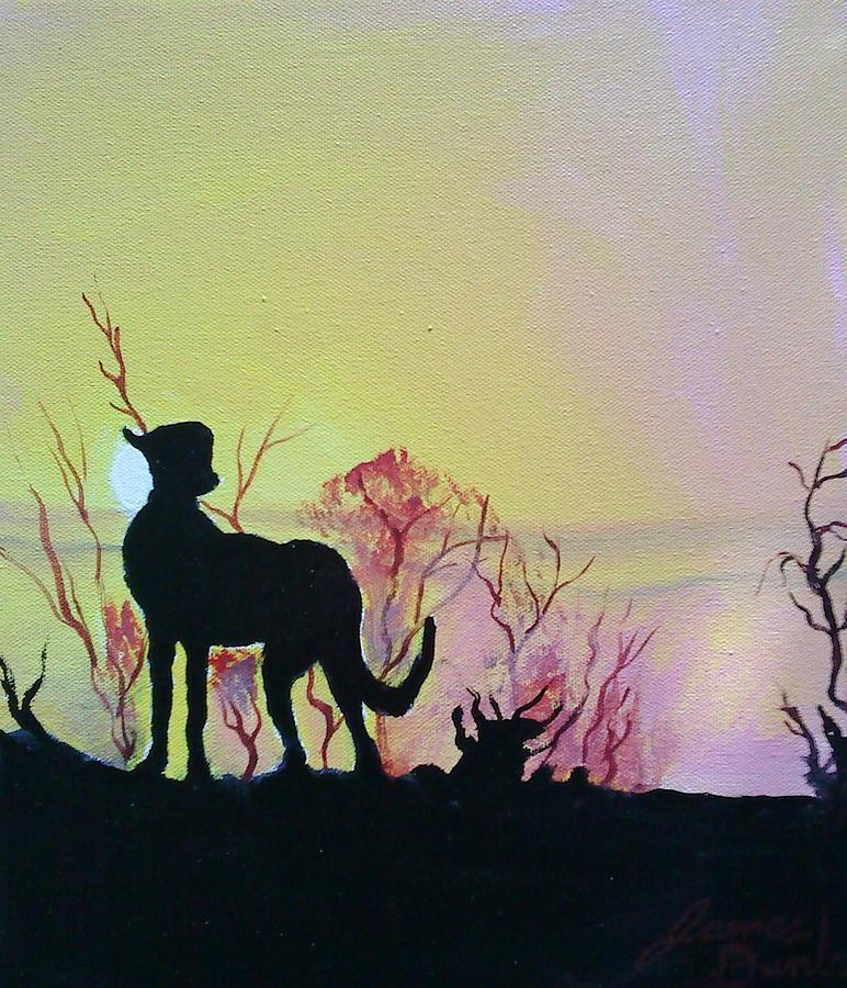 African Cheetah At Sunset Painting by Portland Art Creations
