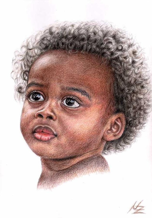 Child Drawing - African Child by Nicole Zeug