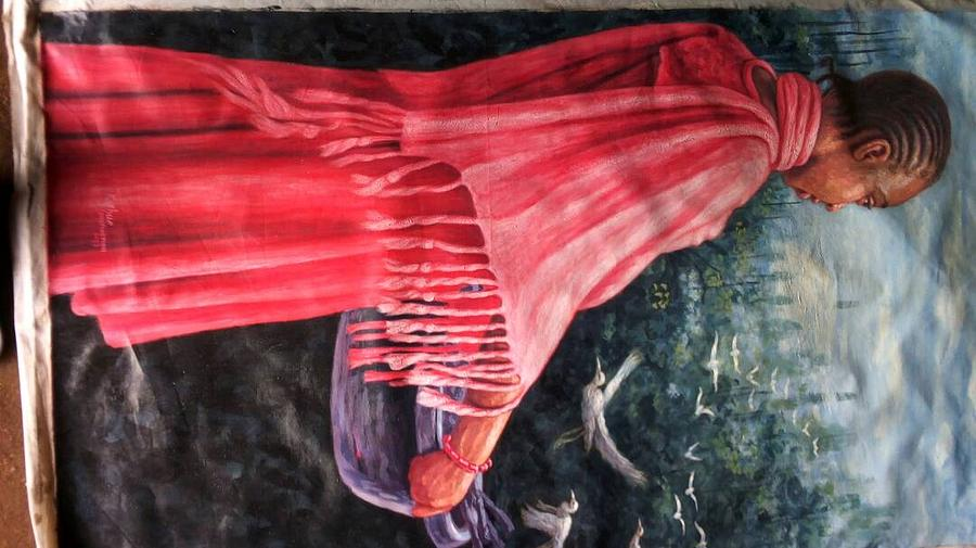 Landscape Painting - African Damsel by Doyin Johnson