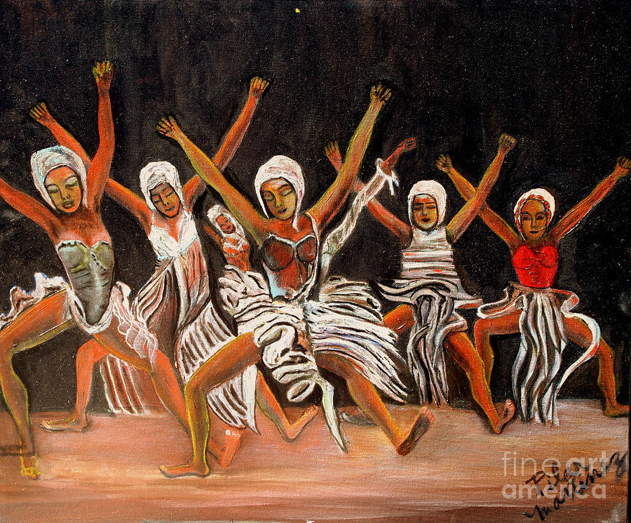Dancers Painting - African Dancers by Pilar  Martinez-Byrne