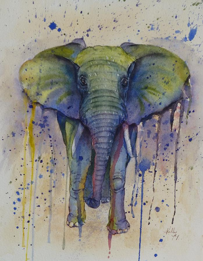 African Elephant Abstract Style Painting By Kelly Mills