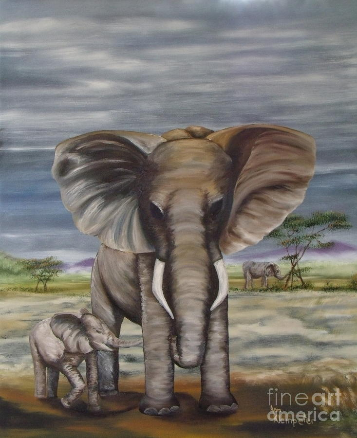 African Elephant Painting - African Elephant by Ann Kleinpeter
