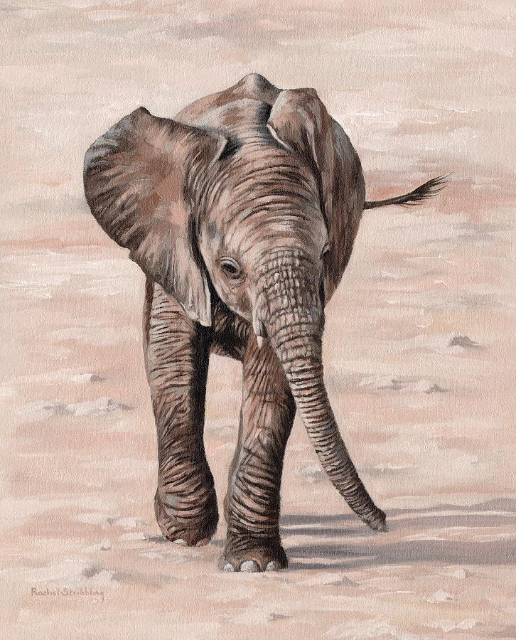 African Elephant Calf Painting by Rachel Stribbling
