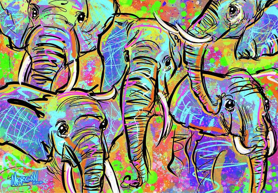 Elephant Digital Art - African Elephants by Morgan Richardson