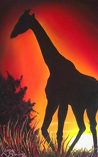African Giraffe At Sunset  Painting by Portland Art Creations
