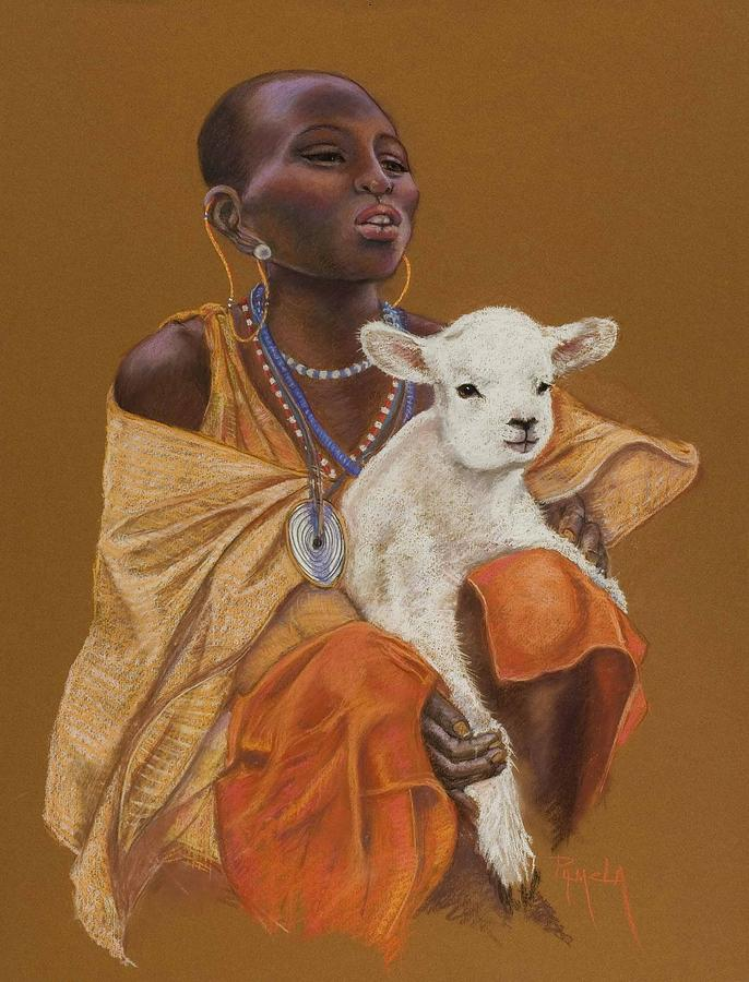 African Girl With Lamb Painting by Pamela Mccabe
