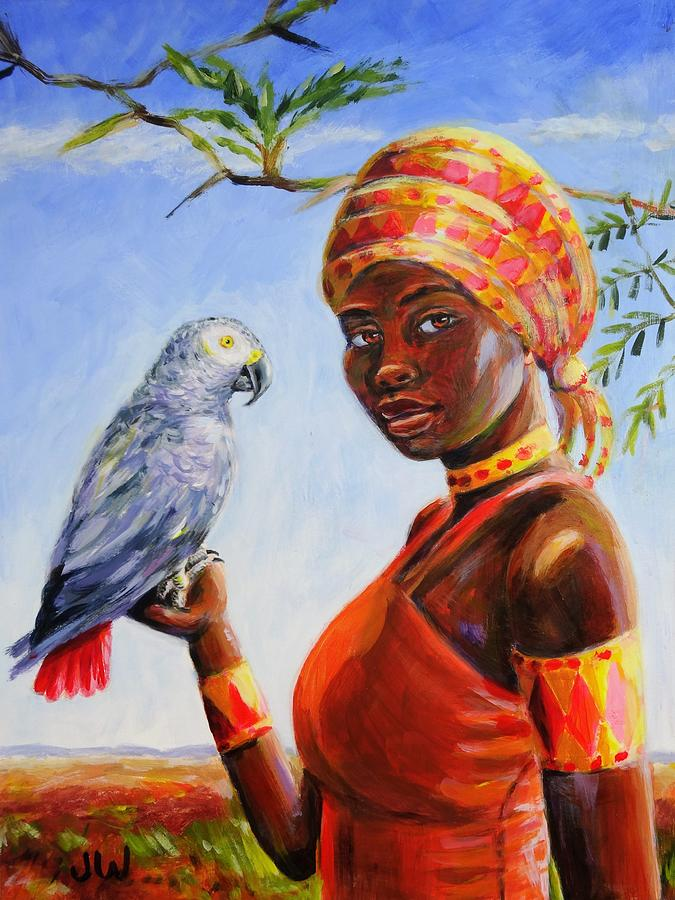 African grey parrot and friend by June Walker