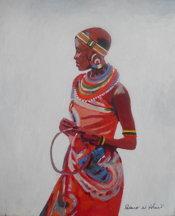 World Culture Painting - African Lady In Red by Patrick Hunt
