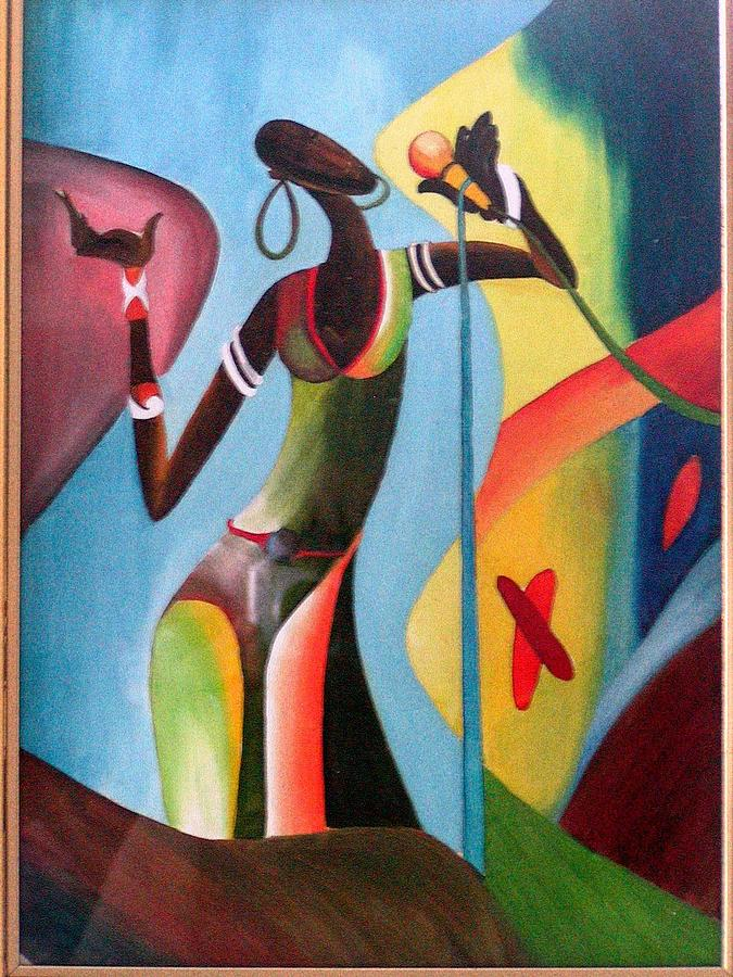 Expression Of Music Painting - African Lady by Kavitha Unachigi