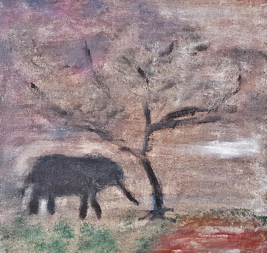 African Landscape Painting - African Landscape baby elephant and banya tree at watering hole with mountain and sunset grasses shr by MendyZ