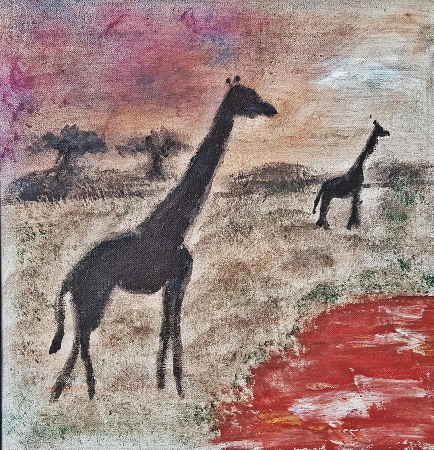 African Landscape Painting - African Landscape giraffe and banya tree at watering hole with mountain and sunset grasses shrubs sa by MendyZ