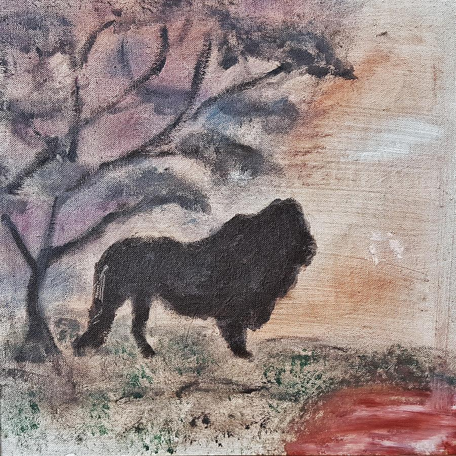 African Landscape Painting - African Landscape Lion And Banya Tree At Watering Hole With Mountain And Sunset Grasses Shrubs Safar by MendyZ