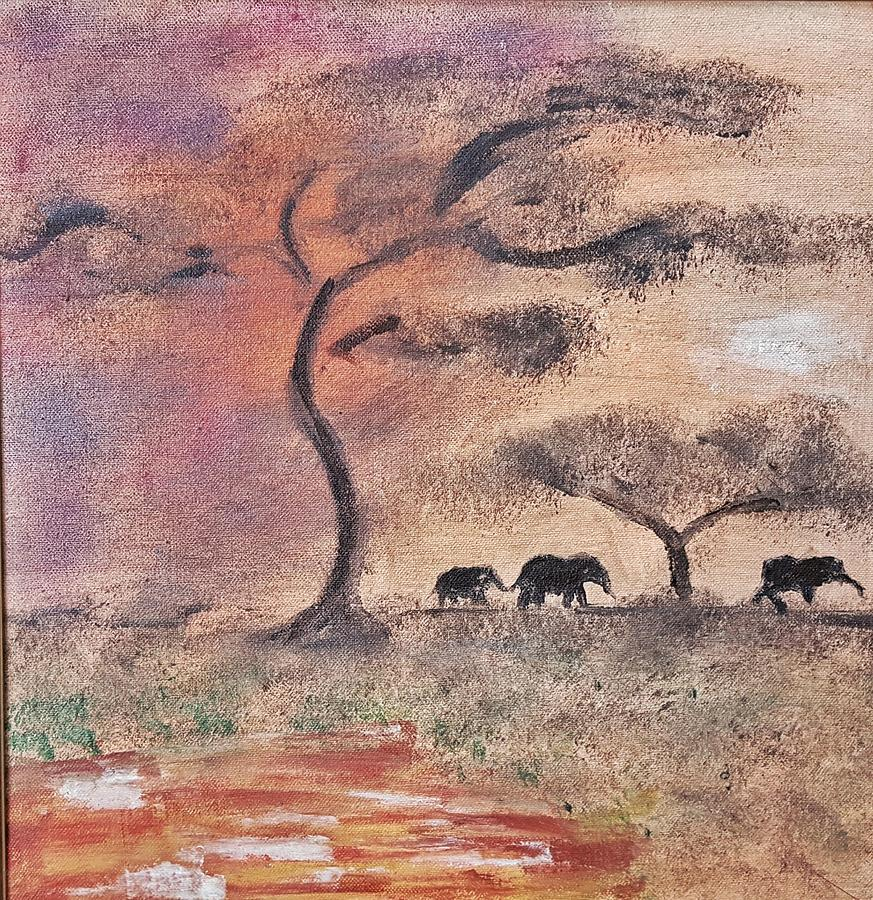 African Landscape Painting - African Landscape Three Elephants And Banya Tree At Watering Hole With Mountain And Sunset Grasses S by MendyZ