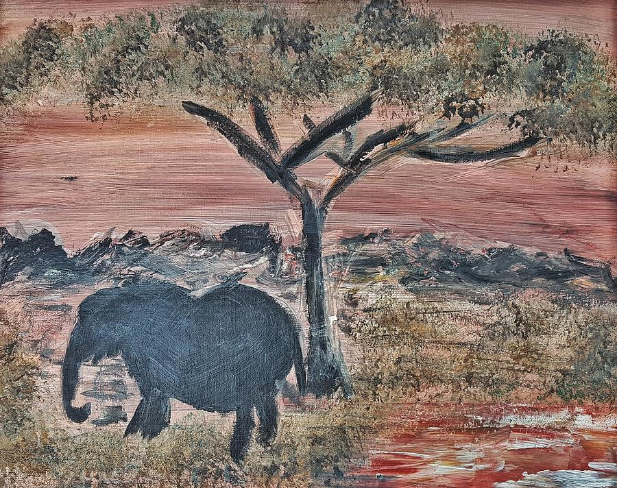 African Landscape Painting - African Landscape With Elephant And Banya Tree At Watering Hole With Mountain And Sunset Grasses Shr by MendyZ