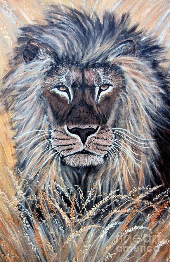 Lion Painting - African Lion by Nick Gustafson