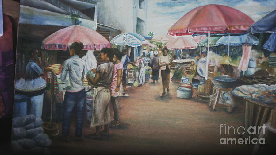 Market Scene Painting - African Market by Kehinde Akanbi