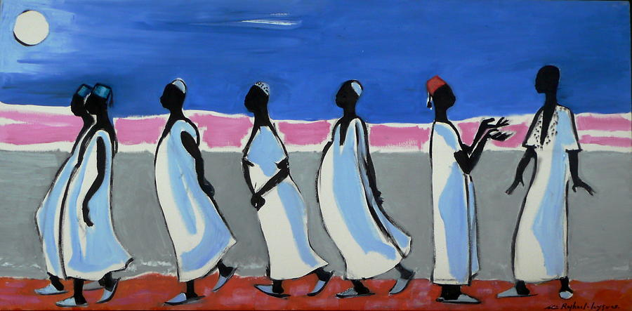 African Men Walking 2 Painting by Celine Raphael-Leygues