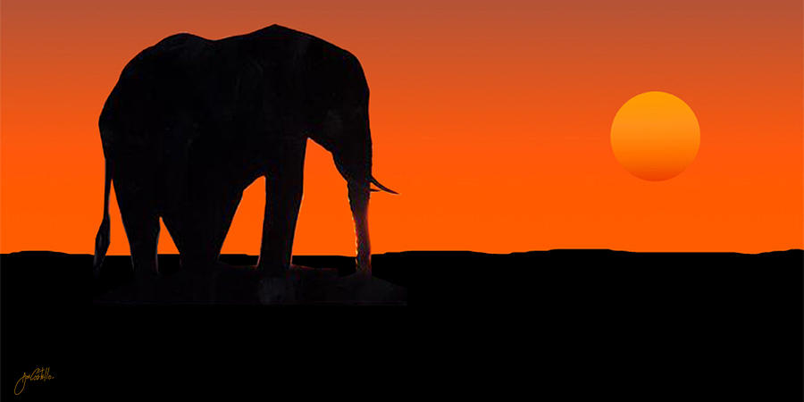Elephant Painting - African Sunset by Joe Costello