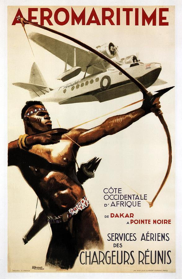 African Tribal Archer Vintage Travel Poster By