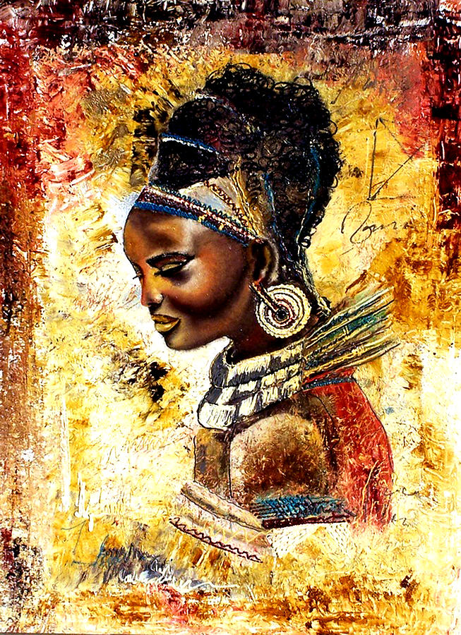 Tribal Painting - African Tribal by Fehmida Haider