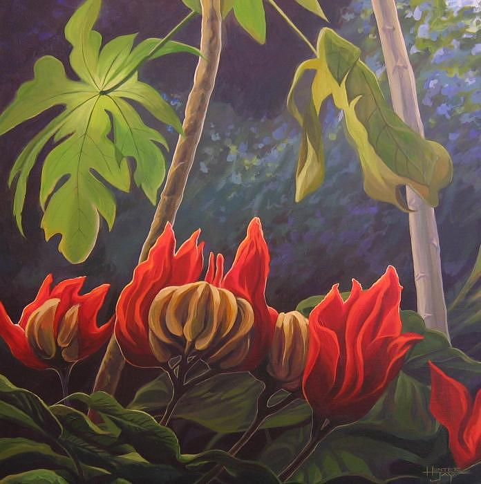 African Tulip Painting - African Tulip by Hunter Jay