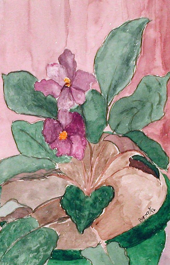 Watercolor Painting - African Violet by Margie  Byrne