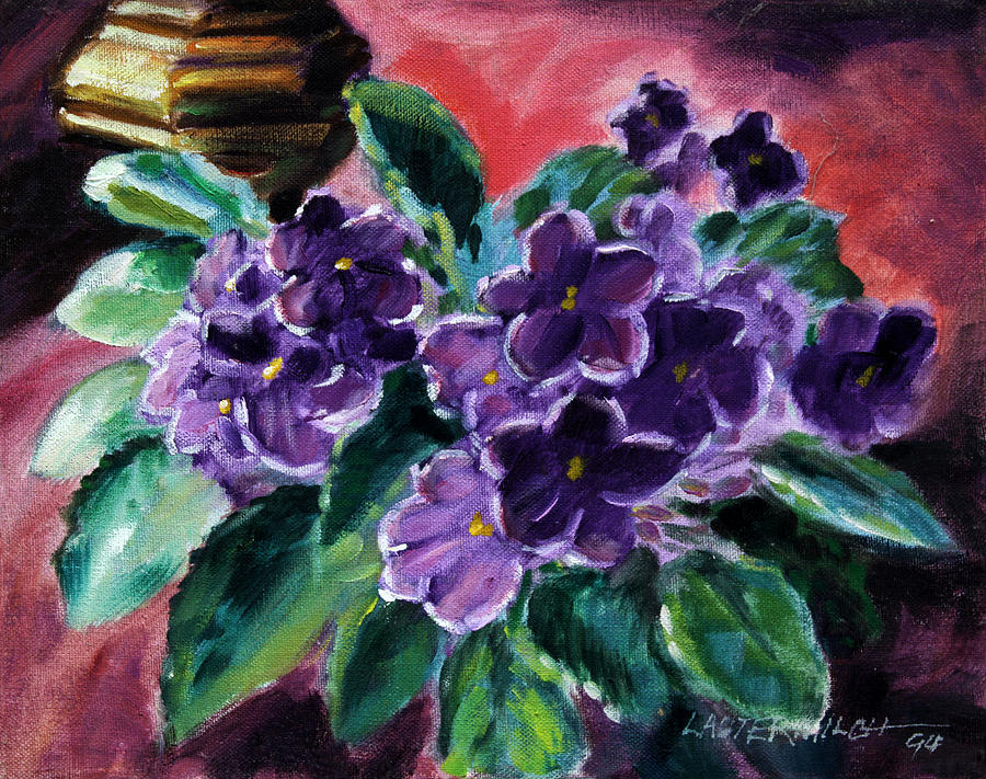 African Violets Painting - African Violets by John Lautermilch