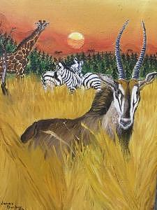 African Wildlife Painting by Portland Art Creations