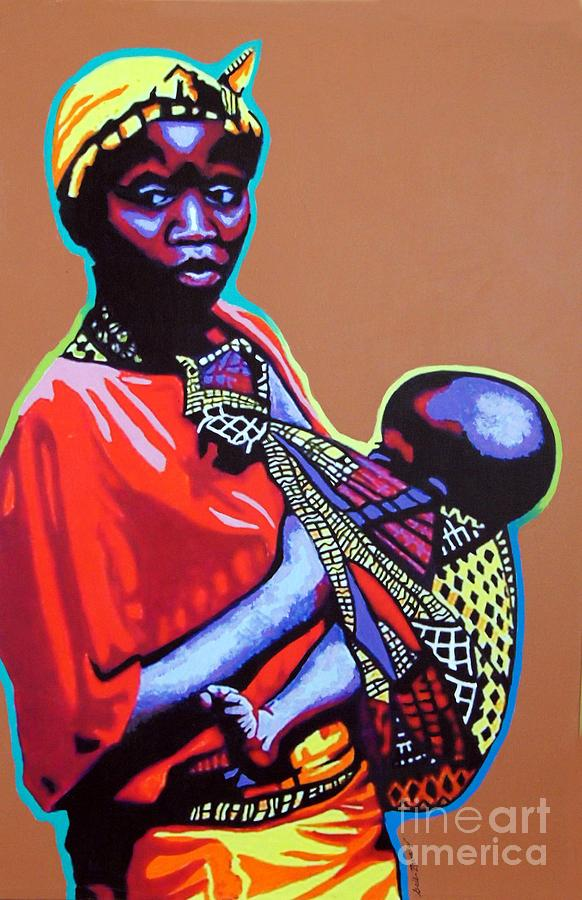 African Woman With Child Painting by Gail Zavala