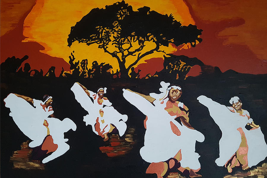 Afro Painting - Afro Carib Dance by Rachel Natalie Rawlins