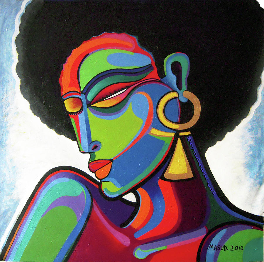 Woman Painting - Afro Life by Bryan Masud McDowell