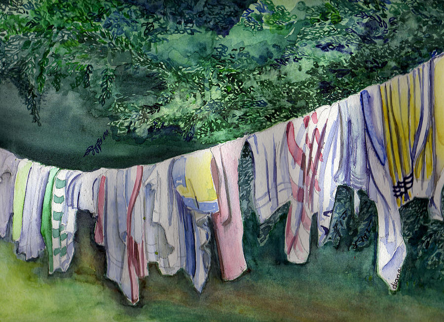 Clothes Painting - After A Day At The Beach by Diana Davenport