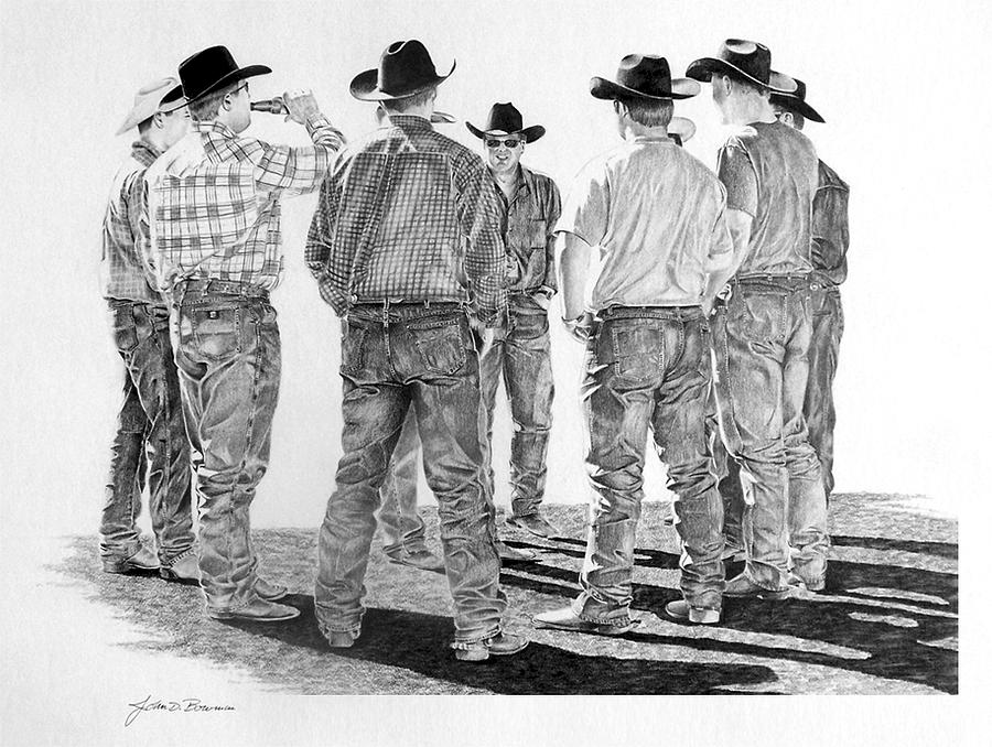 Rodeo Drawing - After A Day Of Ridin by John Bowman