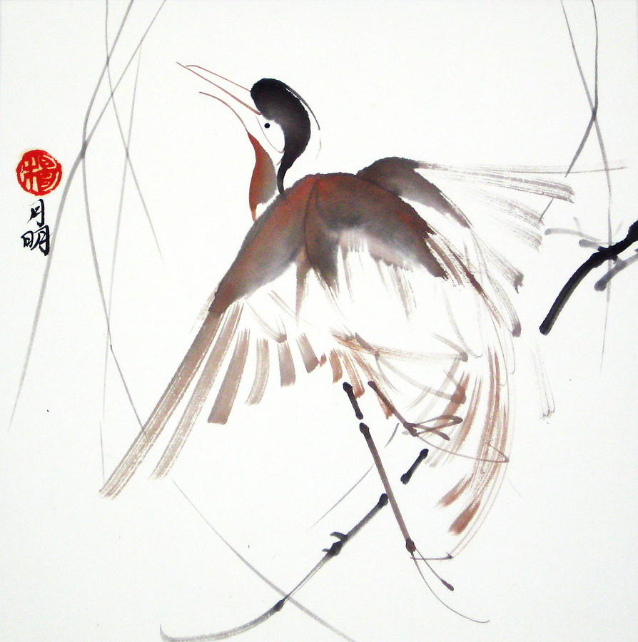 Chinese Painting Painting - After A Long Flight by Ming Yeung