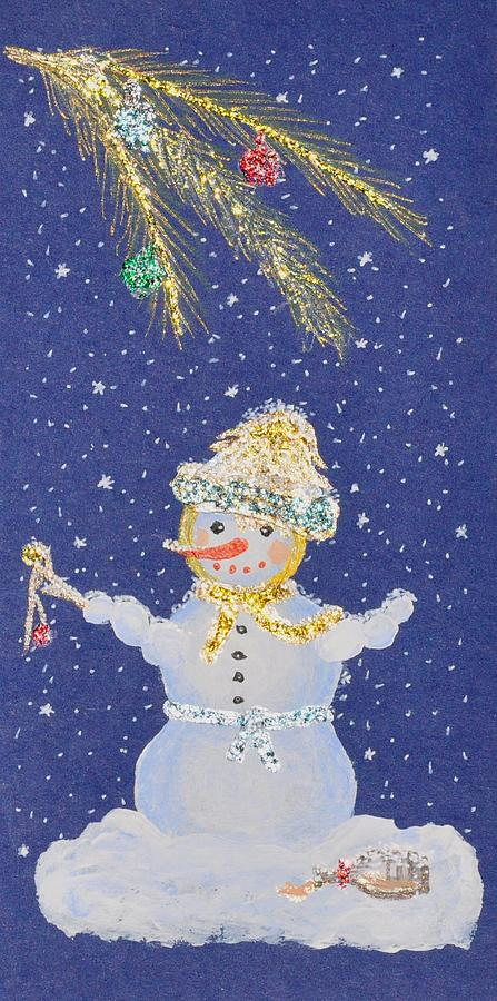 Snowman Painting - After A Long Night by Georgeta  Blanaru