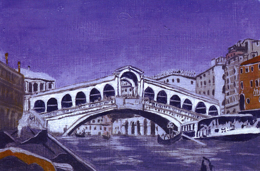 Landscape Painting - After Canal Grande With The Rialto Bridge by Hyper - Canaletto