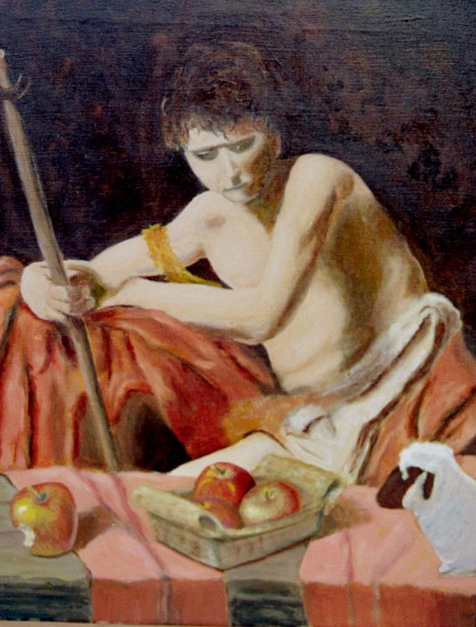 Apples Painting - after Carravaggios John in the widerness with apples and lamb by Edward Merrell