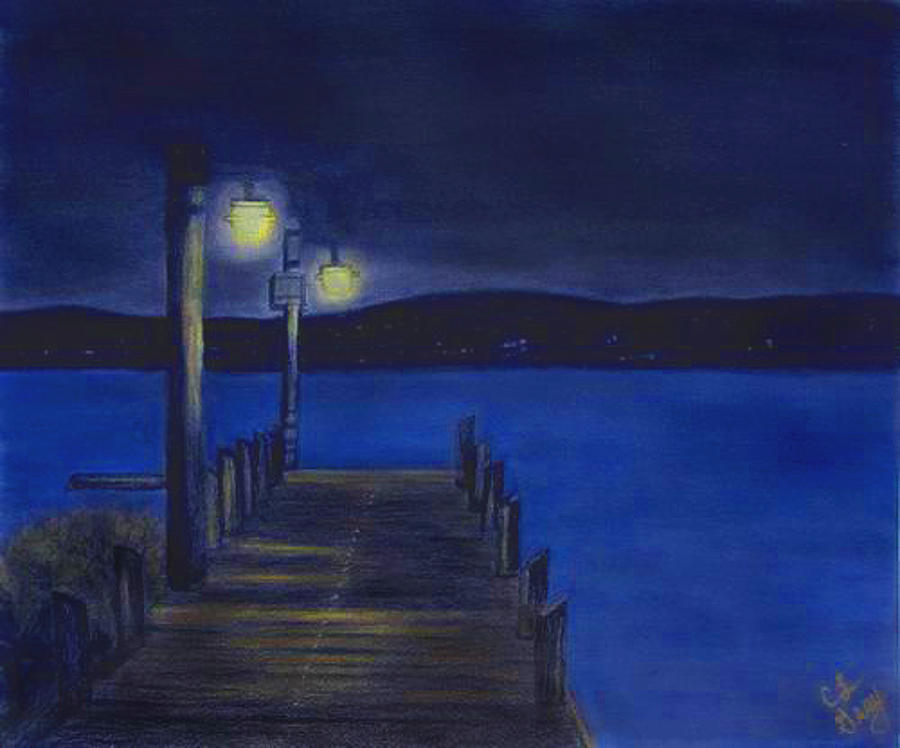 Dock Drawing - After Dinner Walk by Cindy Gray