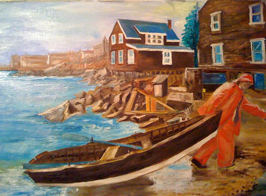 After Fishing Painting by George Tiligadas